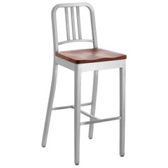 Emeco Navy® Barstool in Brushed Aluminum & Cherry by Us Navy