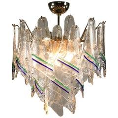 Vintage Mazzega Murano Glass Chandelier Pendant Light Hand Blown Unique MCM
