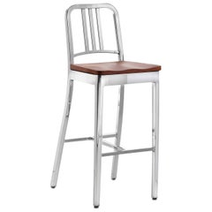 Emeco Navy Barstool in Polished Aluminum and Cherry by US Navy