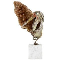 Pelican Sculpture Enamelled Sterling Silver & Mineral Aurelio Teno, Spain, 1960