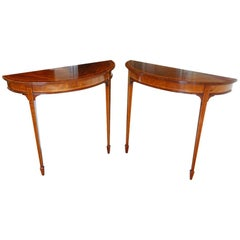 Pair of Edwardian Mahogany Demilune Tables