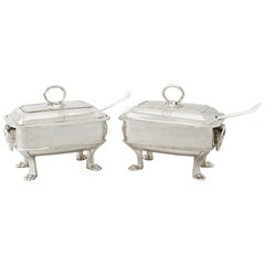 Georgian English Sterling Silver Sauce Tureens with Ladles