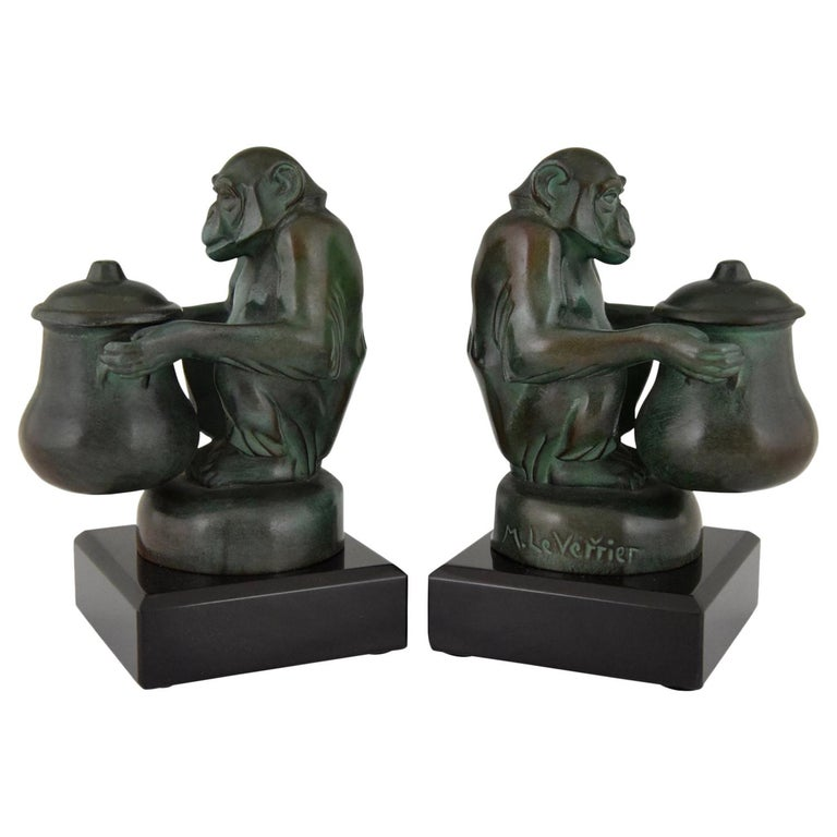 Max Le Verrier Art Deco Monkey Bookends France, 1930 For Sale