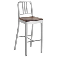 Emeco Navy Barstool in Brushed Aluminum and Walnut by US Navy