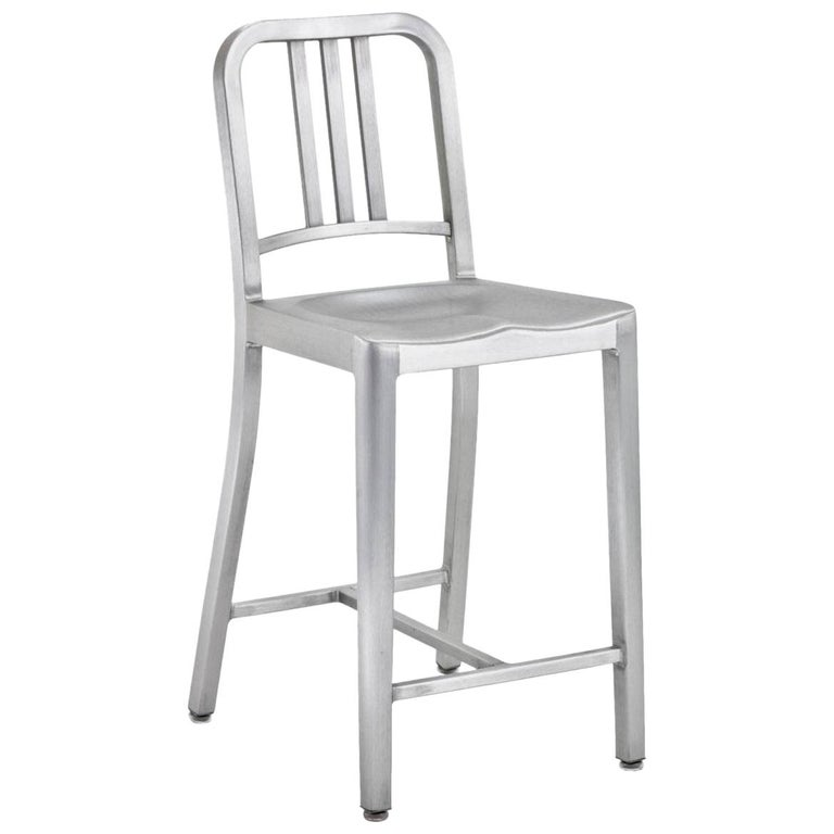 Emeco Navy Counter Stool in Brushed Aluminum by US Navy For Sale