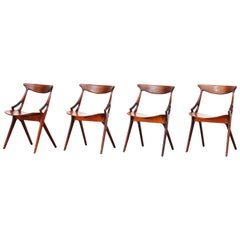Set of Four Danish Dining Chairs by Arne Hovmand-Olsen for Mogens Kold, 1959