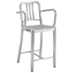 Emeco Navy Counter Stool with Arms in Brushed Aluminum by US Navy