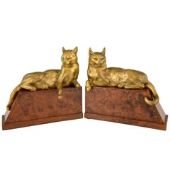 Art Deco Bronze Cat Bookends by Louis Riche