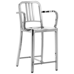 Emeco Navy Counter Stool with Arms in Polished Aluminum by US Navy