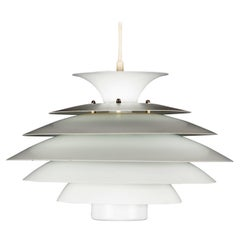White Pendant Light with Seven Elements No. 52550 from Form Light Denmark, 1970s