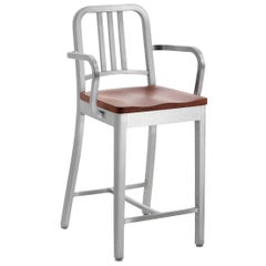 Emeco Navy® Counter Stool W/ Arms in Brushed Aluminum & Cherry by US Navy