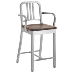 Emeco Navy Counter Stool with Arms in Brushed Aluminum and Walnut by Us Navy