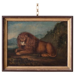 George III Painting of a Lion, Oil on Canvas, circa 1810