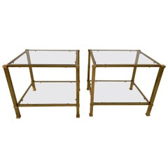 Pair of Two-Tier Brass and Glass End Tables