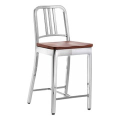 Emeco Navy® Counter Stool in Polished Aluminum & Cherry by US Navy