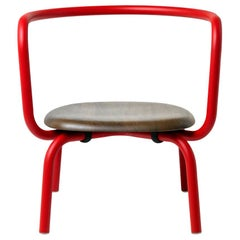 Emeco Parrish Lounge Chair in Red Powder-Coat and Walnut by Konstantin Grcic
