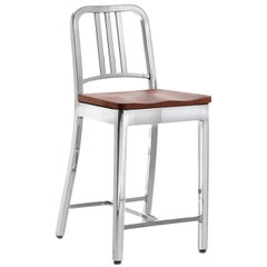 Emeco Navy Counter Stool in Polished Aluminum and Walnut by US Navy