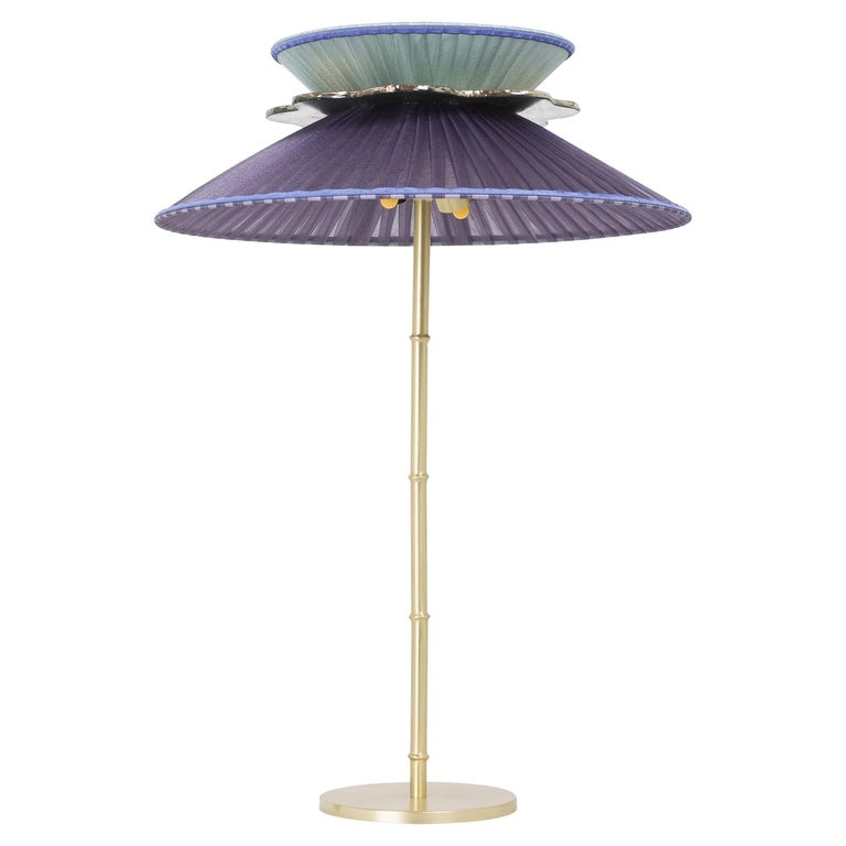 Daisy Table Lamp in Satin Brass Violet-Mint Silk Lampshade Silver Glass Necklace For Sale