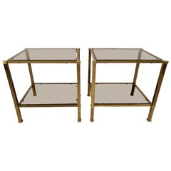 Pair of Two-Tier Brass and Smoked Glass End Tables