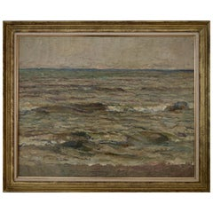 French Post-Impressionist Seascape Oil Painting, 1931