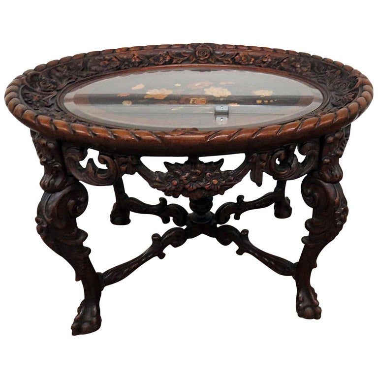 Victorian Style Glass Top Coffee Table For Sale