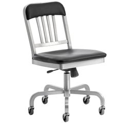 Emeco Navy® Swivel Chair in Brushed Aluminum w/ Bar Back by Us Navy