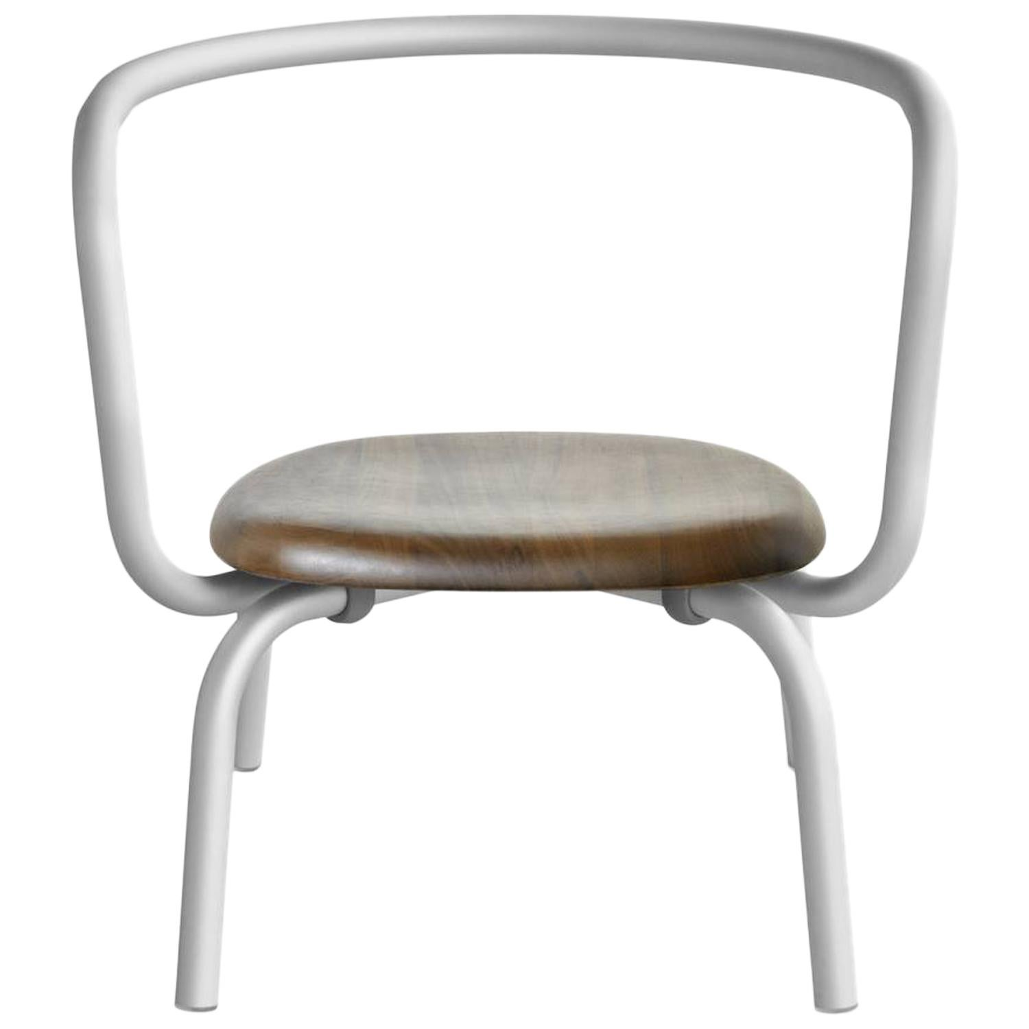 Emeco Parrish Lounge Chair in Aluminum with Walnut Seat by Konstantin Grcic