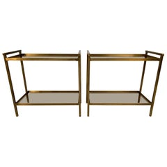 Pair of Two-Tier Rectangular Brass and Smoked Glass End Tables