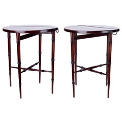 1950s English Pair of Folding Auxiliary Tables with Bronze Handles on the Sides