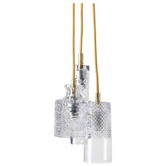 Three-Piece Set of Mouth Blown Etched Crystal Pendant Lamps, Gold
