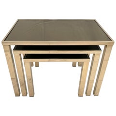 Set of 23-Karat Gold-Plated Nesting Tables by Belgo Chrome