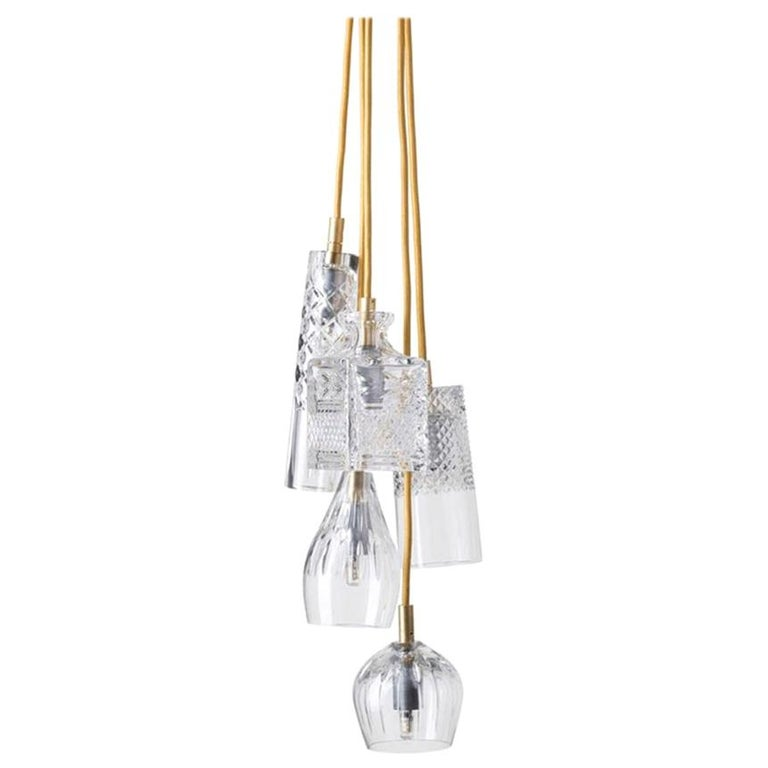 Five-Piece Set of Mouth Blown Etched Crystal Pendant Lamps, Gold For Sale