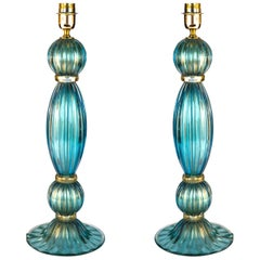 Toso Mid-Century Modern Pair of Aquamarine Murano Glass Table Lamps, 1980s