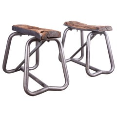 1960s Pair of Industrial Metal and Wood Trestles, Stools, Side Tables