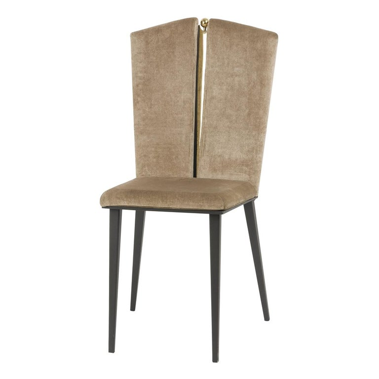Kimono Dining Chair Velvet Cushions, Silvered Glass, Made of Iron and Brass For Sale