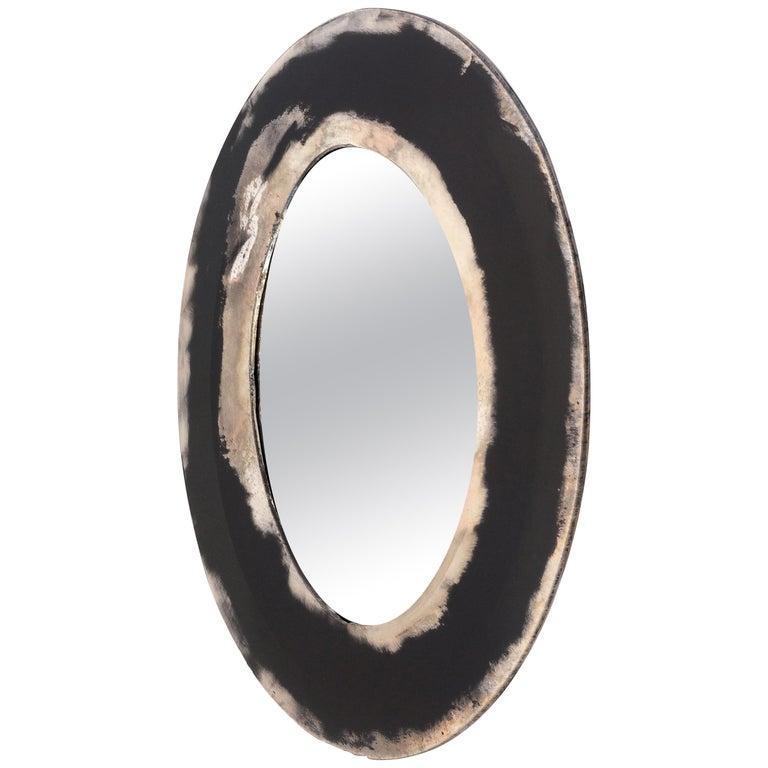 Life Mirror, Art Glass Silvered on Black Mirror, Birch Wood Handmade, Tuscany For Sale
