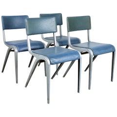 1950s Set of Four James Leonard Esavian ESA Dining, Side Upholstered Chairs