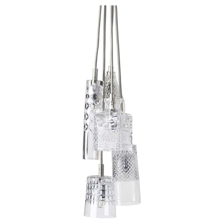 Five-Piece Set of Mouth Blown Etched Crystal Pendant Lamps, Silver For Sale
