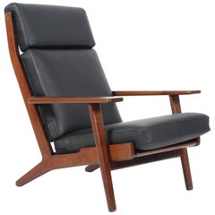 Hans J. Wegner Three-Seat Lounge Chair, Model 290A, Smoked Oak and Leather