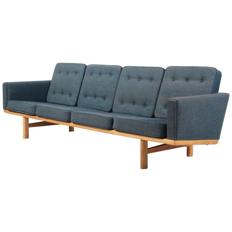 Hans J Wegner Four Seat Sofa Model 236 4 Flecked Fabric And Oak