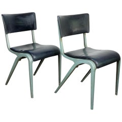 1950s Pair of James Leonard Esavian Esa Dining, Side Upholstered Chairs