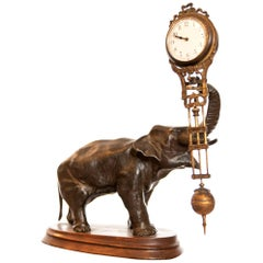 Brass Pendulum Elephant Mystery Clock by Junghans