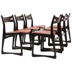 Danish Cabinetmaker, Set of Six Rosewood Dining Chairs Cognac Aniline Leather
