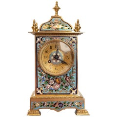 Champlevé Enamel Mantle Clock Made in Paris, France, circa 1875