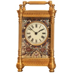 19th Century French Champlevé Enamel Brass Case Carriage Clock