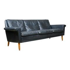 Vintage Mid-Century Modern Black Leather Sofa, Danish, Three-Seat, circa 1970