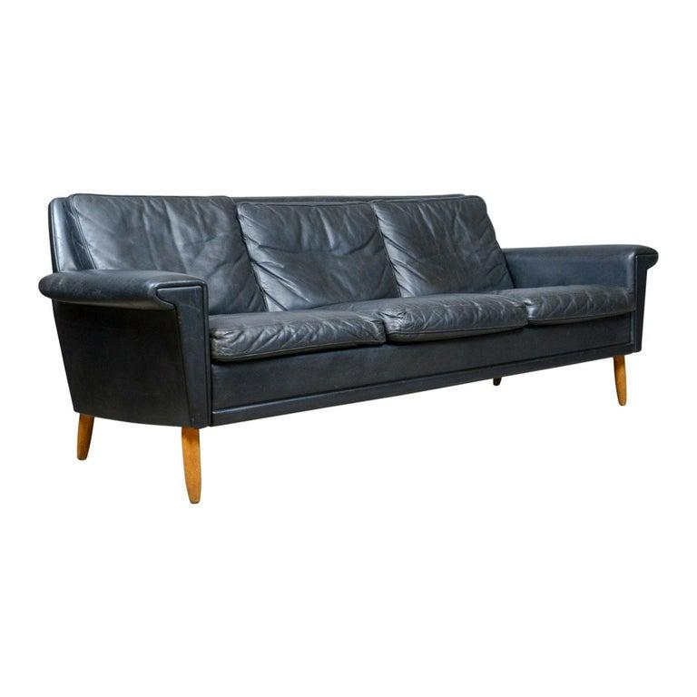 Vintage Mid-Century Modern Black Leather Sofa, Danish, Three-Seat ...
