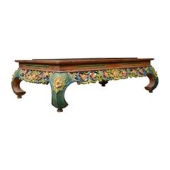 4 Foot Vintage Oriental Low Coffee Table, Hand Carved Painted Frieze