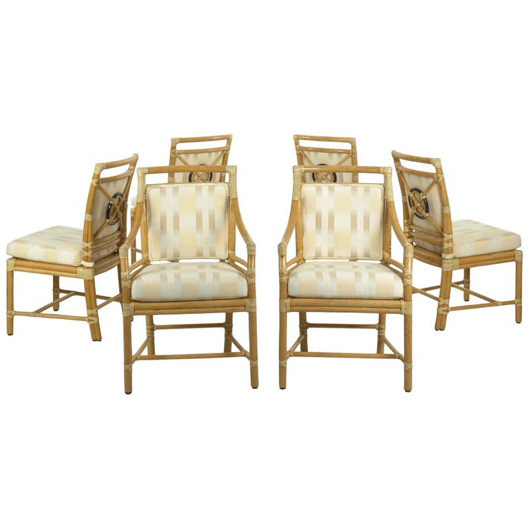 Target Dining Room Furniture: Set Of Six McGuire Leather-Bound Rattan Dining Chairs With