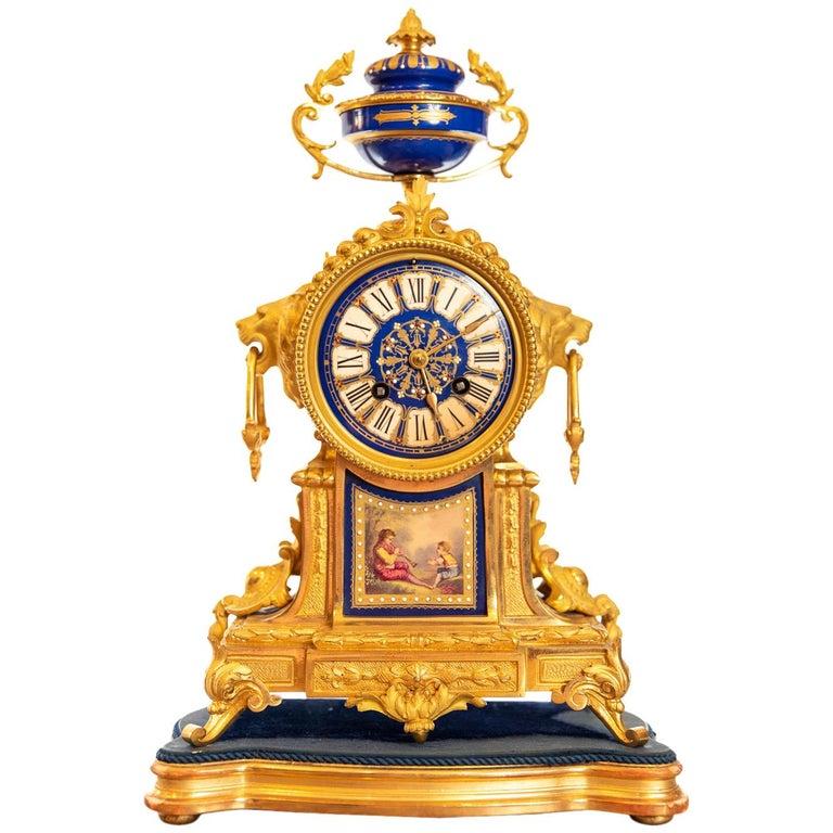 19th Century French Ormolu Clock For Sale